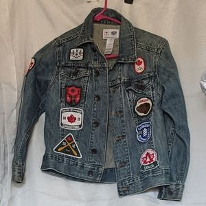 7/8)Boys Youth Denim Canada Olympic Jacket